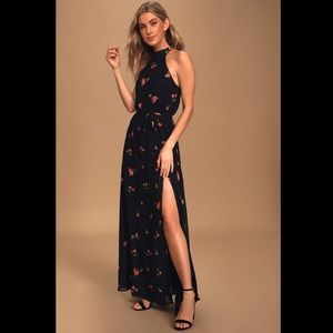 Lulus Maxi/Gown, Black with red flowers
